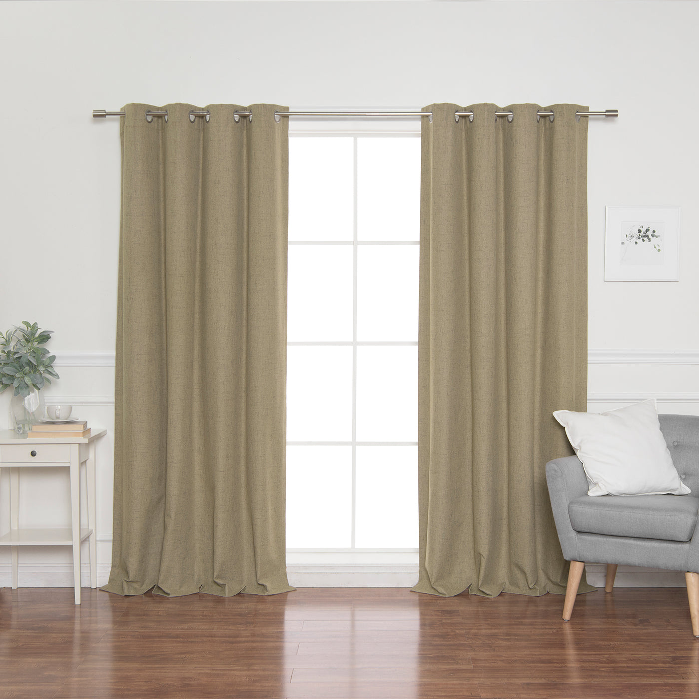 Faux Linen Grommet Thermal Room Darkening Curtains