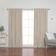 Faux Linen Back Tab Thermal Room Darkening Curtains