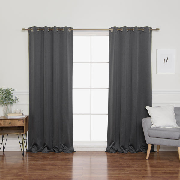 SolbloQ Heathered Linen Look Grommet Blackout Curtains