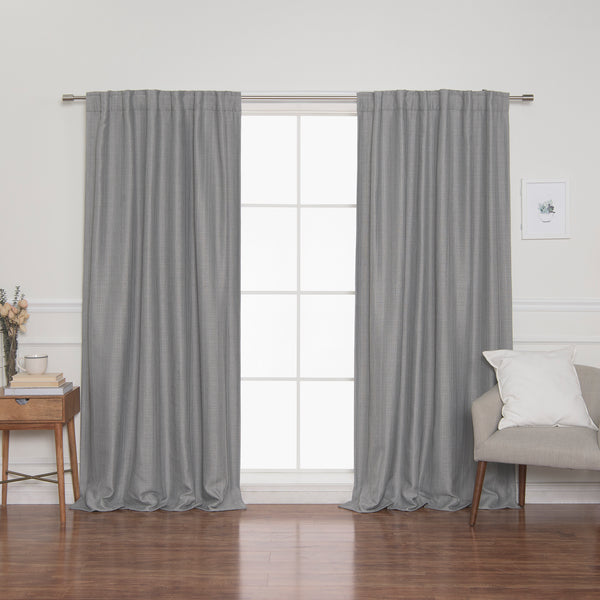 SolbloQ Woven Faux Linen Back Tab Curtains with Blackout Lining
