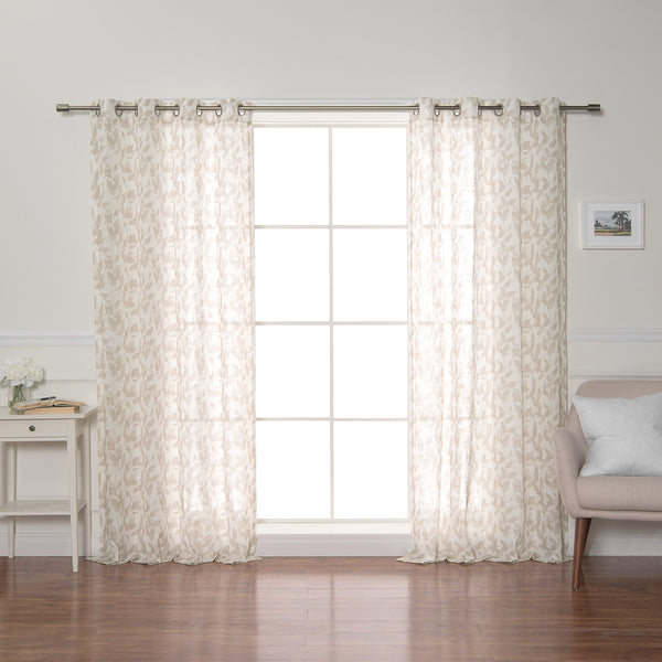 Opaque Beige Leaf Curtains