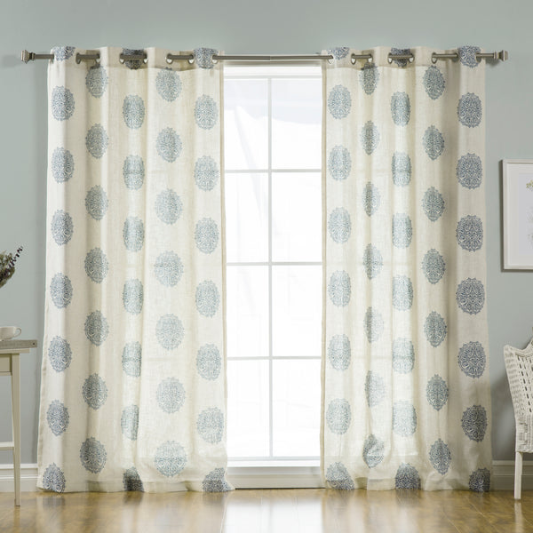 Linen Blend Medallion Curtains