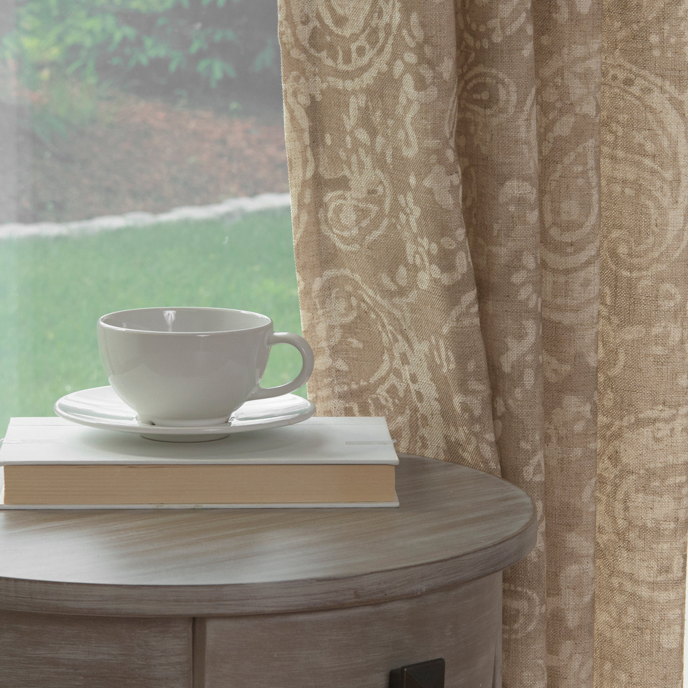 Linen Blend Paisley Watercolor Curtains