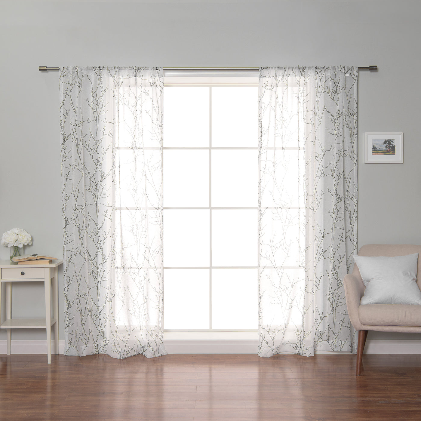 Sheer Watercolor Tree Branch Curtains