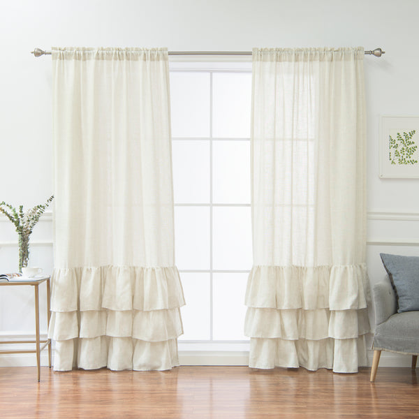 Linen Blend Ruffle Curtain - Natural