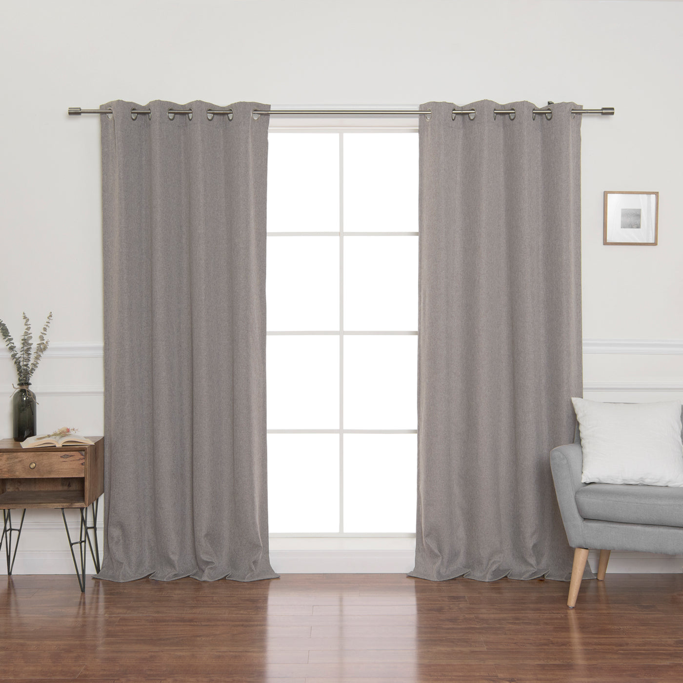 Faux Linen Blackout Grommet Curtain