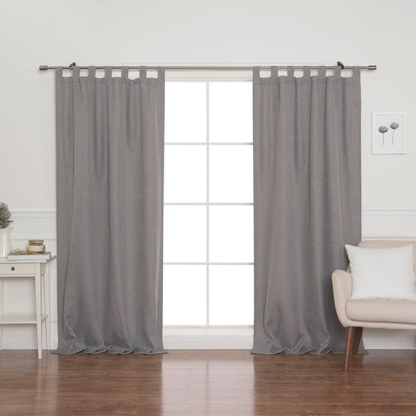 Faux Linen Blackout Tab Top Curtain
