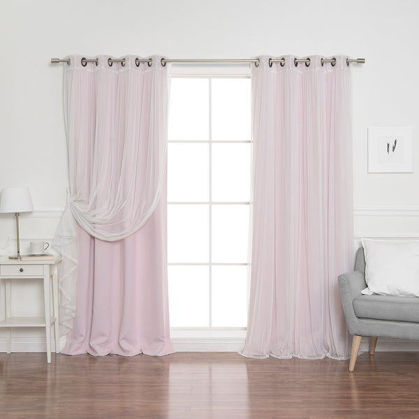 uMIXm Tulle & Bronze Grommet Blackout Curtains