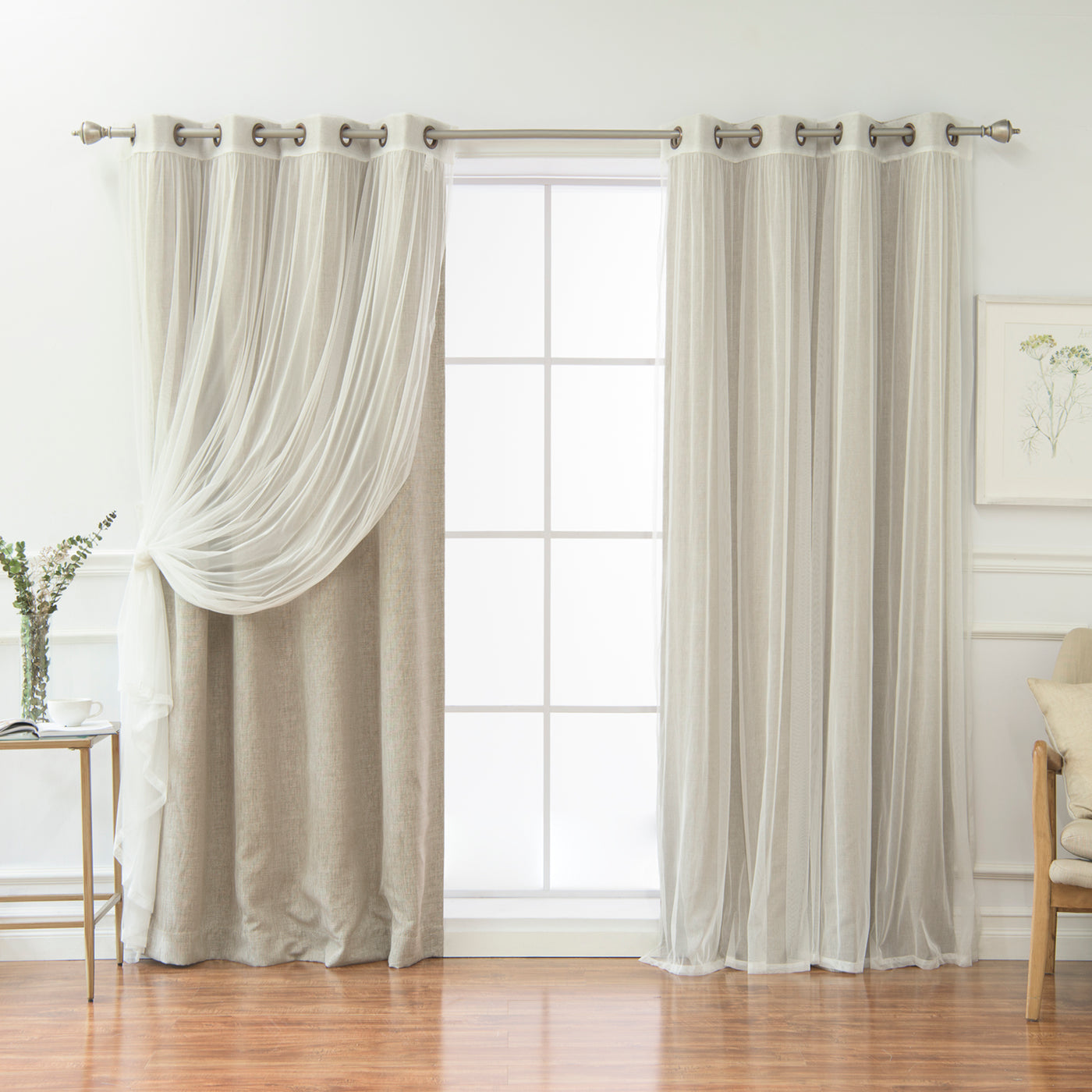 uMIXm Tulle & Heathered Room Darkening Curtains
