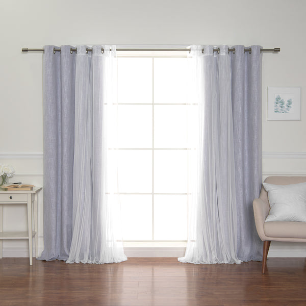 Mix & Match Tulle & Linen-Look Grommet Blackout Curtains