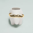 White & Gold Ceramic Bull Planter