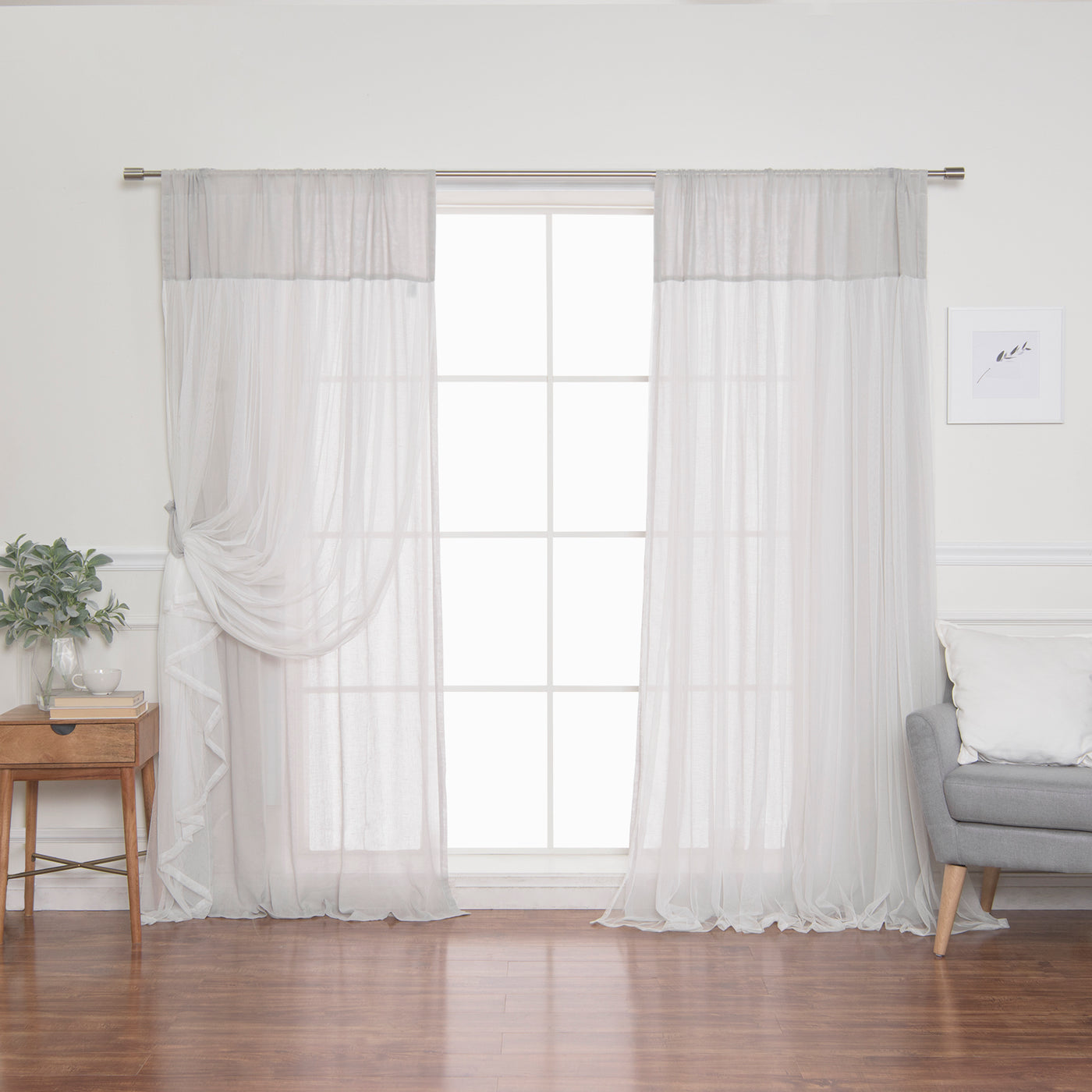 Faux Linen Tulle Overlay Curtains
