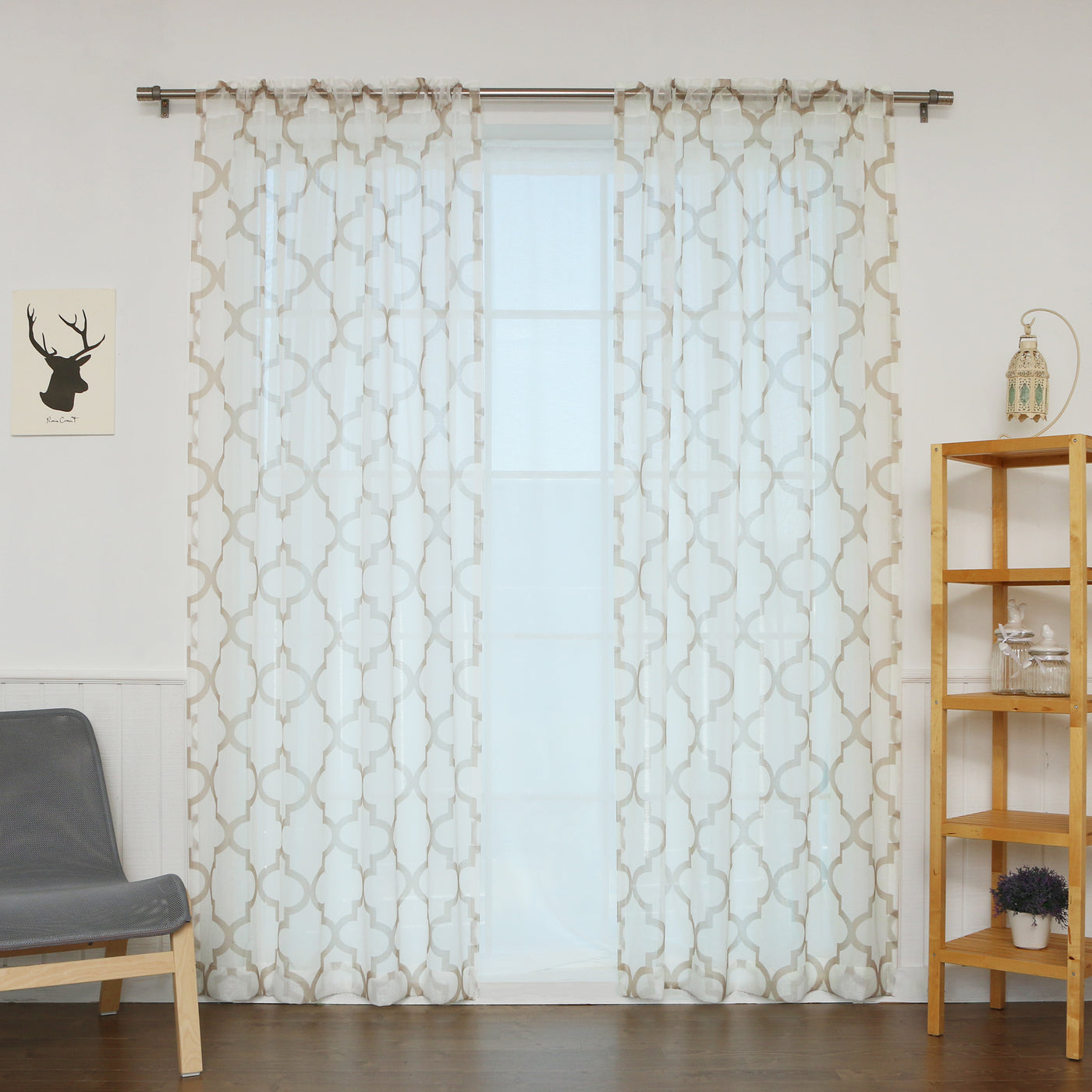 Faux Linen Sheer Reverse Moroccan Curtains