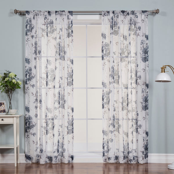 Faux Linen Watercolor Rose Curtains