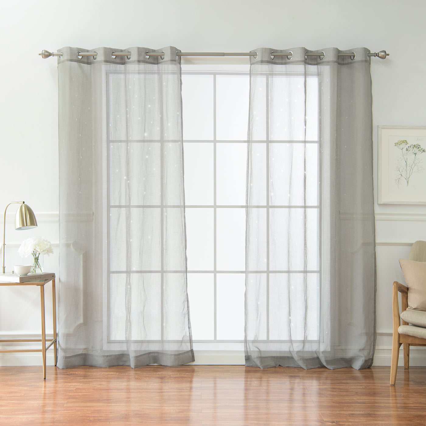 Sheer Star Cut Out Curtains