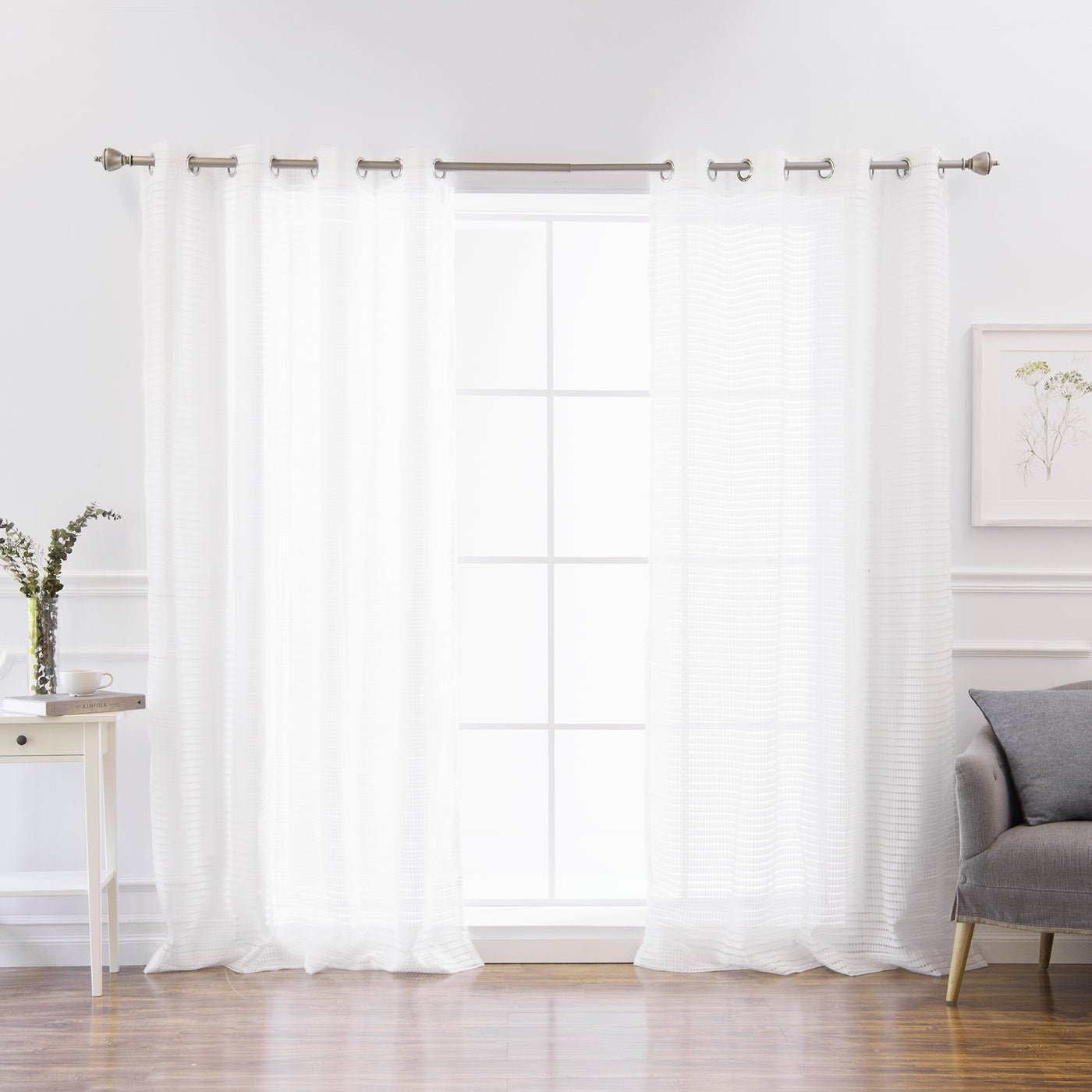 Sheer Modern Check Curtains