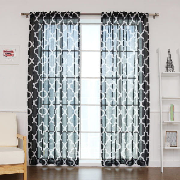Faux Linen Sheer Moroccan Curtains