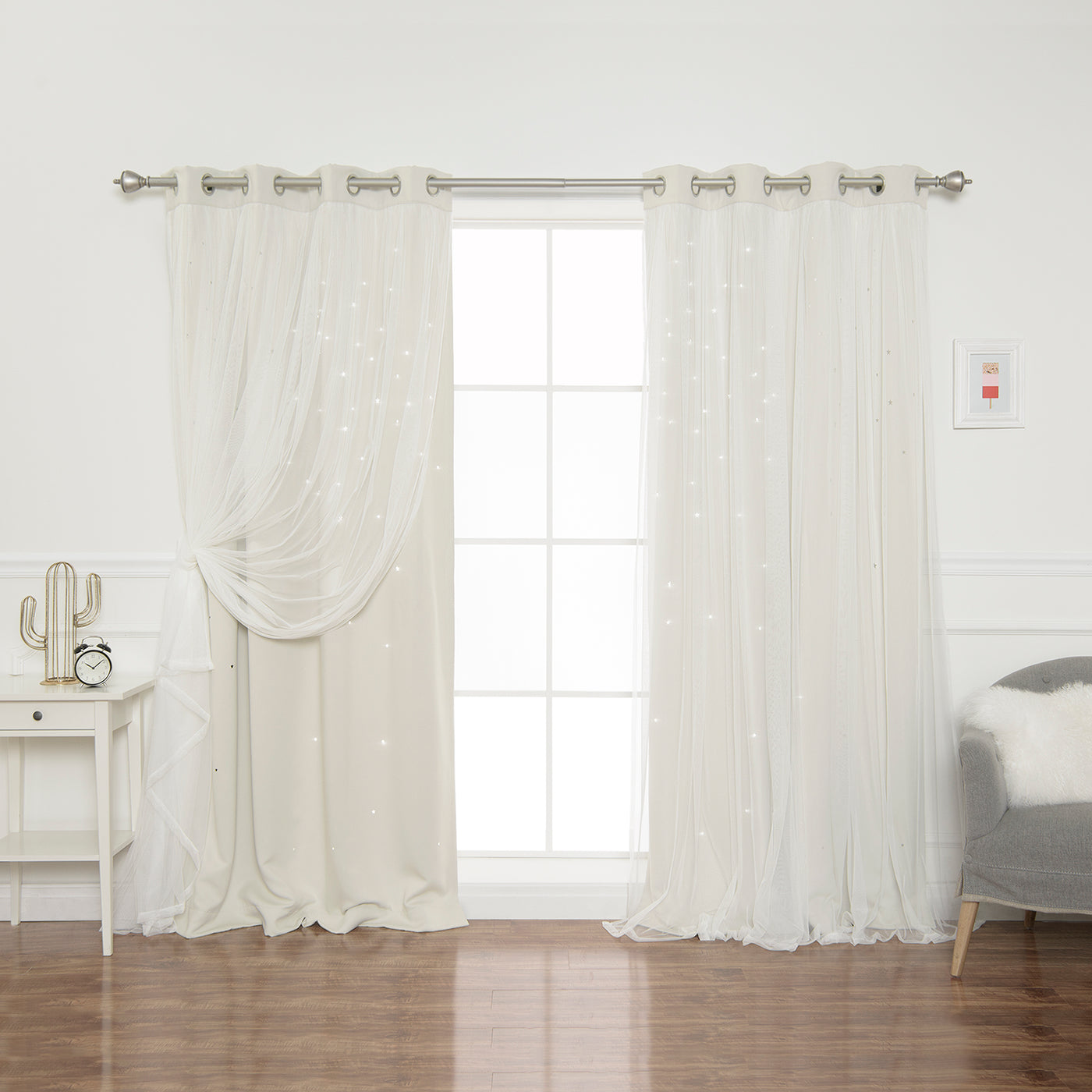 Tulle Overlay Star Cut Out Blackout Curtains