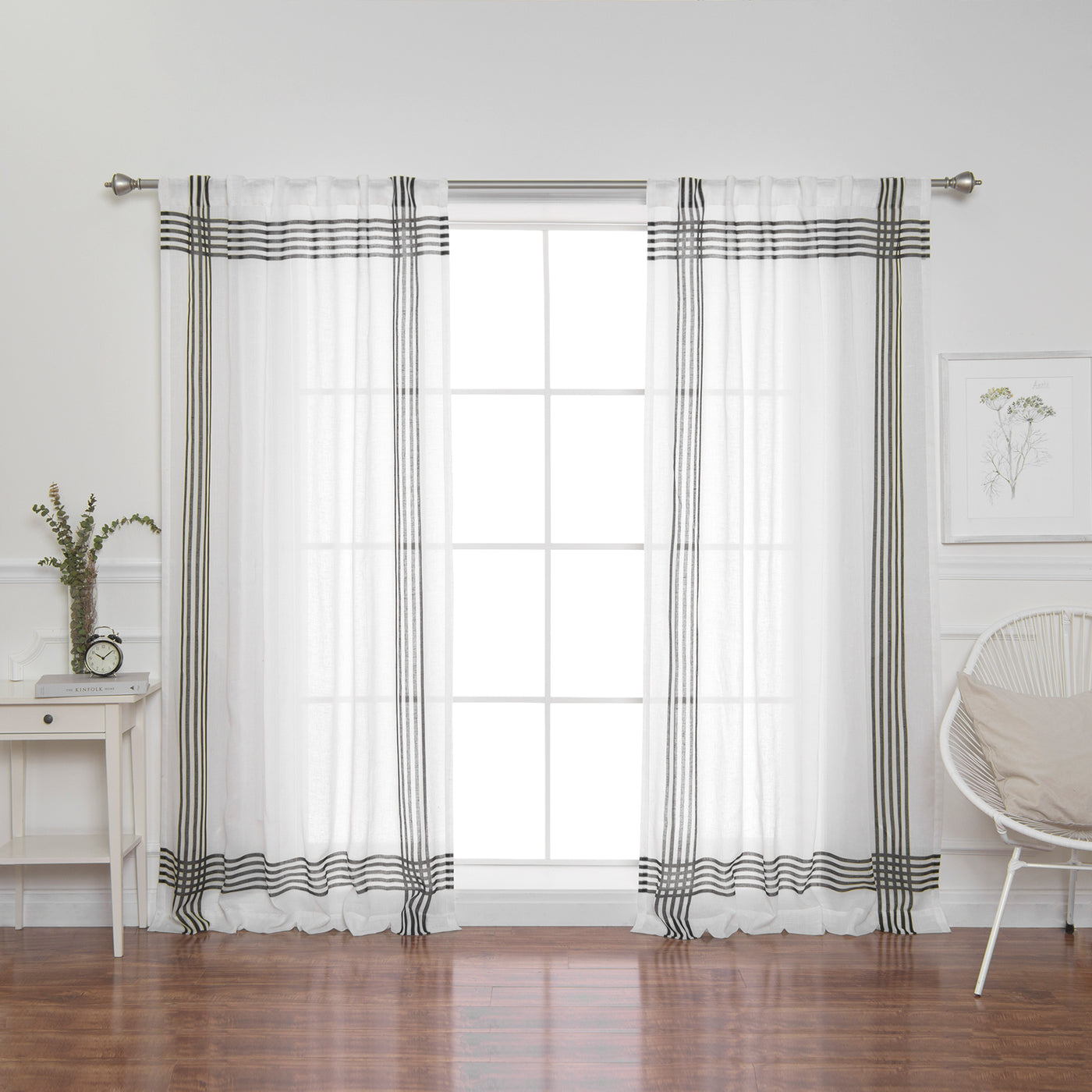Faux Linen Cross Stripe Curtain