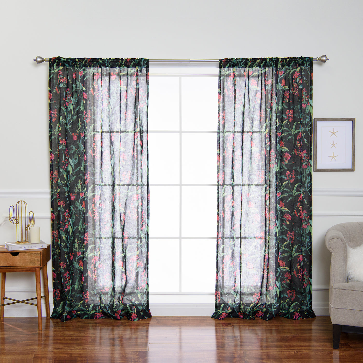 Sheer Floral Curtains