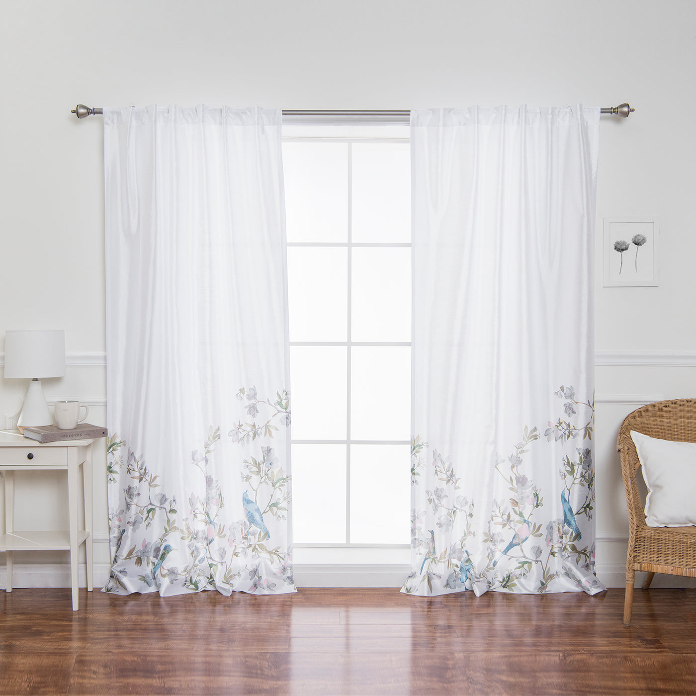 Faux Silk Bluebird Curtains
