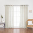 Black Grommet Linen Look Curtains