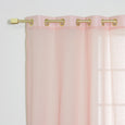 Faux Linen Gold Grommet Curtains