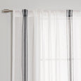 Sheer Faux Linen Triple Stripe Curtains