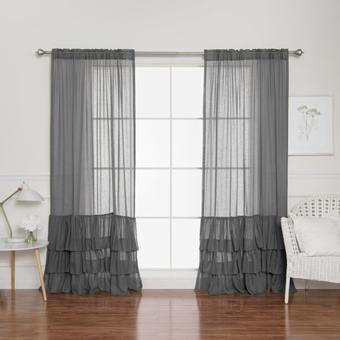 Faux Linen Ruffle Curtains