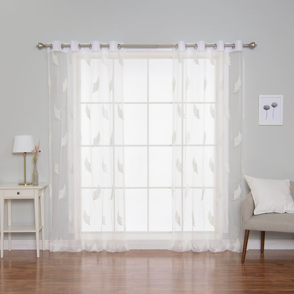 Sheer Embroidered Leaf Curtains