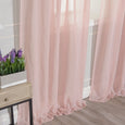 Sheer Faux Linen Romantic Tie Top Curtains