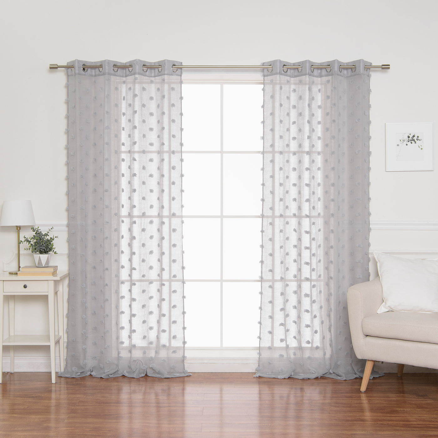 Sheer Textured Dot Curtains