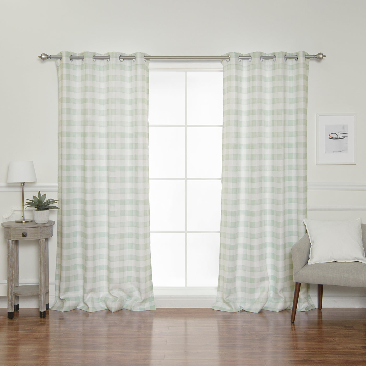 Nordic Watercolor Check Grommet Curtains