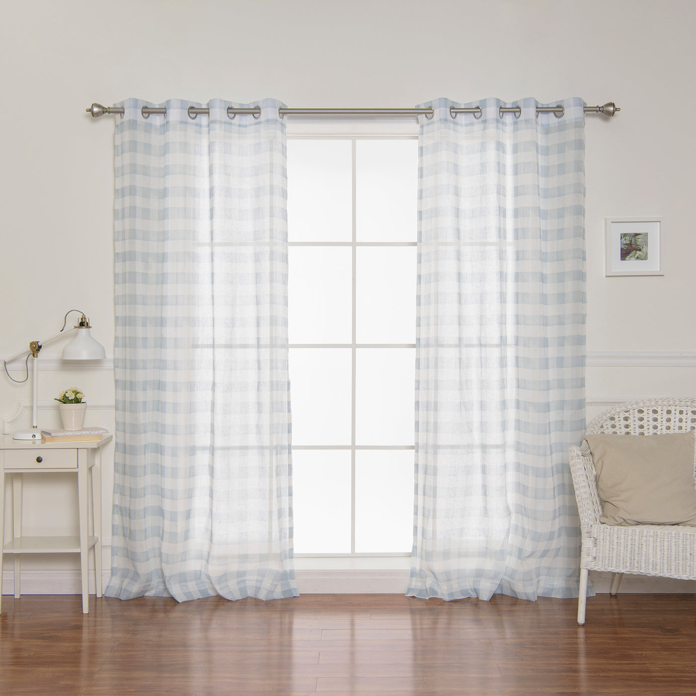 Sheer Watercolor Plaid Grommet Curtains