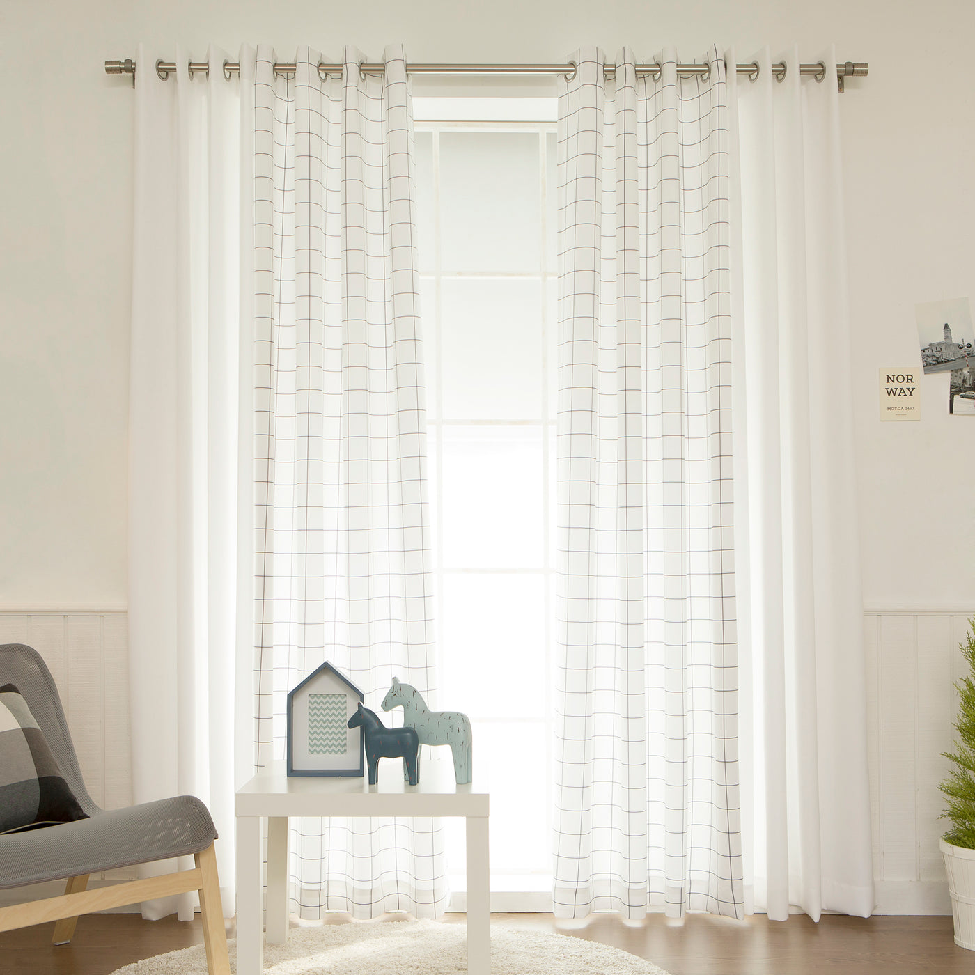 Graph Check & White Mix & Match Curtains