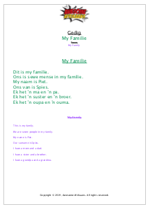Poem My Family Worksheet Awesome Afrikaans