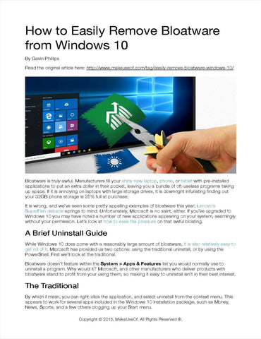 How to Easily Remove Bloatware from Windows 10 PDF eBook