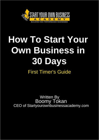 How To Start Your Own Business in 30 Days