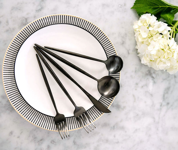 Lina Matte Black Flatware, 5-20 piece sets