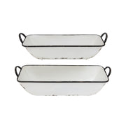 Distressed White Boat Trays, Set of 2
