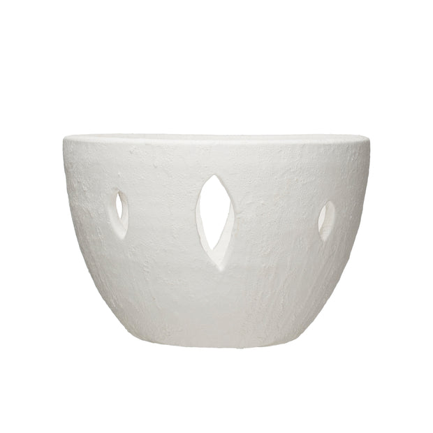 Large Decorative White Terracotta Bowl