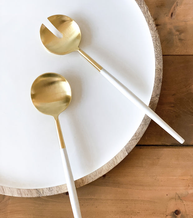 Pia White + Gold Servers, Set of 2