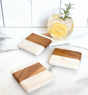 Maison Wood + White Coasters