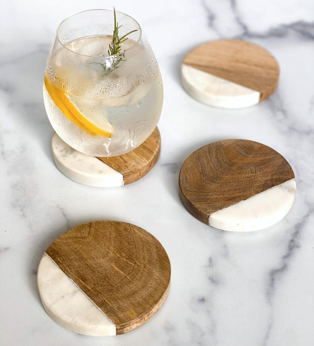 Buckley Wood + White Coasters