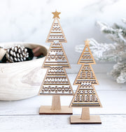 Wood Christmas Trees, Set of 2