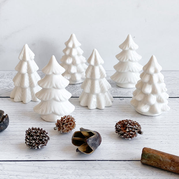 Decorative White Stoneware Trees, Set of 6