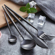 Lina Matte Black Flatware, 4 Piece Place Settings