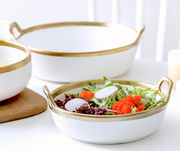 White + Gold Serving Bowls