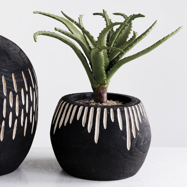 Stella Wood Black Pot, Carved