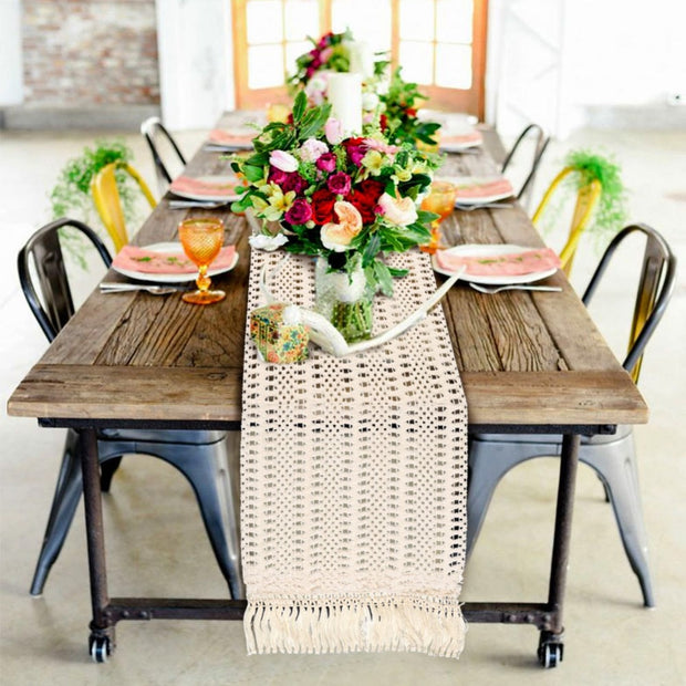 Woven Beige Table Runner